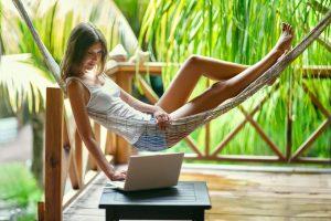 Freelancer working in paradise