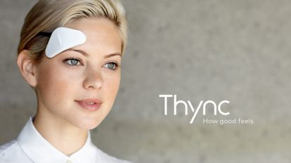 woman wearing Thync for stress
